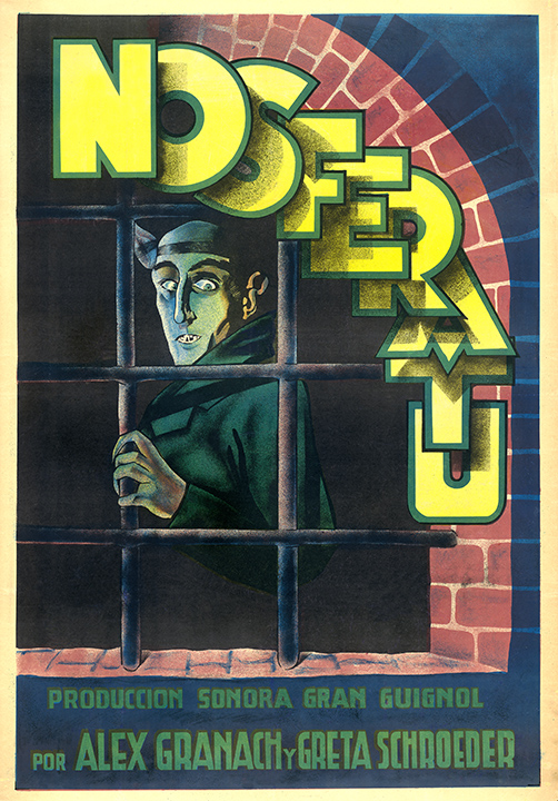 "After the 1922 German vampire film ""Nosferatu"" came out, Bram Stoker's widow sued for copyright infringement. The court ordered the film and its all promotional material to be destroyed, but this rare poster had already been shipped to Spain. (From ""Too Much Horror Business"")"