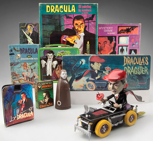 "Hammett's collection of toys based on 1931's ""Dracula"" include a wallet, a candy box, a rubber-band-powered Tricky Walker, a puzzle, a lunch box, an Aurora Frightening Lightning model, a paint-by-numbers kit, a board game, and Dracula's Dragster by Aurora. (Photo courtesy of SFO Museum)"