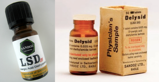 In 1965, LSD was still legal in California, where the early Acid Tests took place. Image on left courtesy Farmer Dodds. Image on right courtesy the Herb Museum.