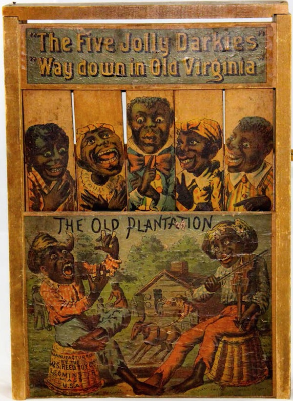 "Children's target games with African American caricatures taught kids it was fun to hurt black people. (From ""Understanding Jim Crow"")"