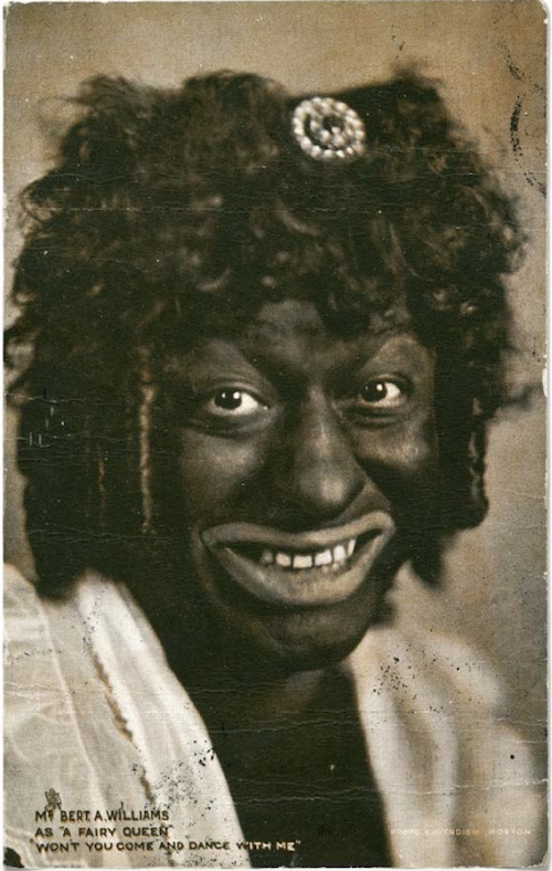 "Famous white blackface performer Bert Williams posed for Raphael Tuck & Sons' ""Coon Studies"" postcard series, produced in 1904. (From ""Understanding Jim Crow"")"