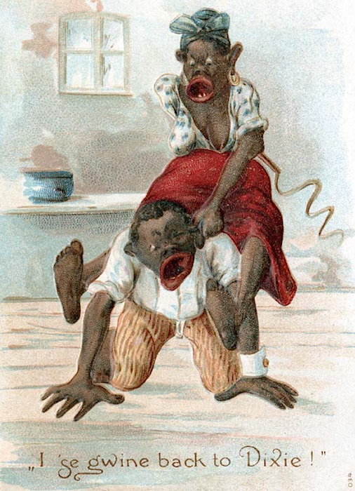 A 1910 postcard shows an immodest Sapphire beating and berating her husband. (From