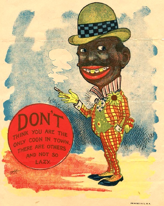 This 1907 vinegar-valentine postcard characterizes the coon caricature. (From