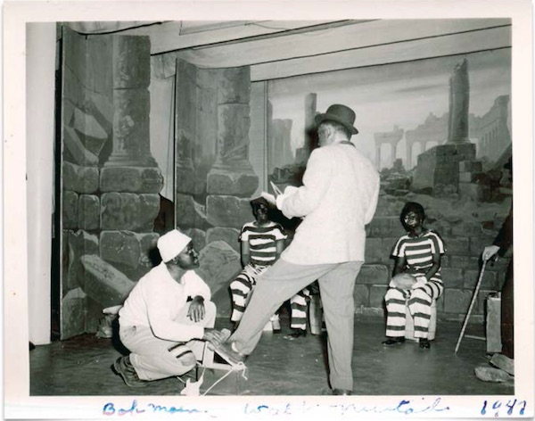 "A photo from a small-town minstrel show in 1947. (From ""Understanding Jim Crow"")"