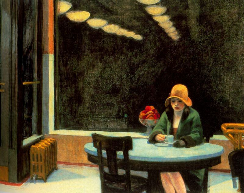 """Edward Hopper's 1927 painting """"Automat"""" hints at the isolating side of urban life."""