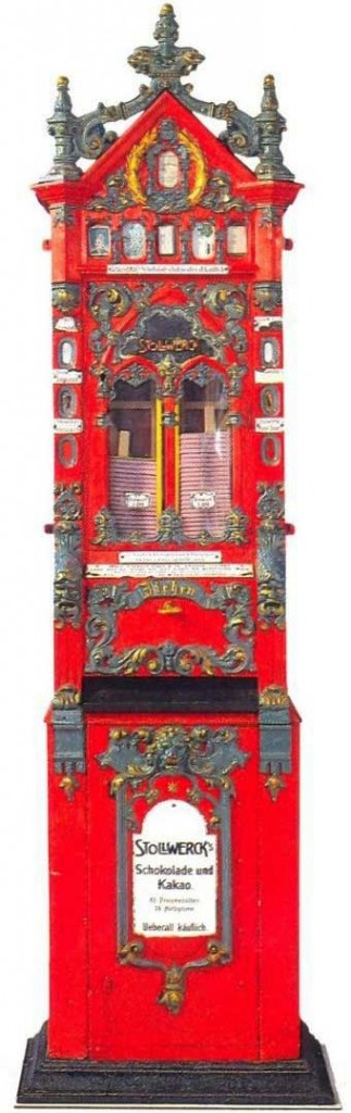 In the 1880s, Max Sielaff developed the first chocolate-bar vending machine for the Stollwerk confectionary.