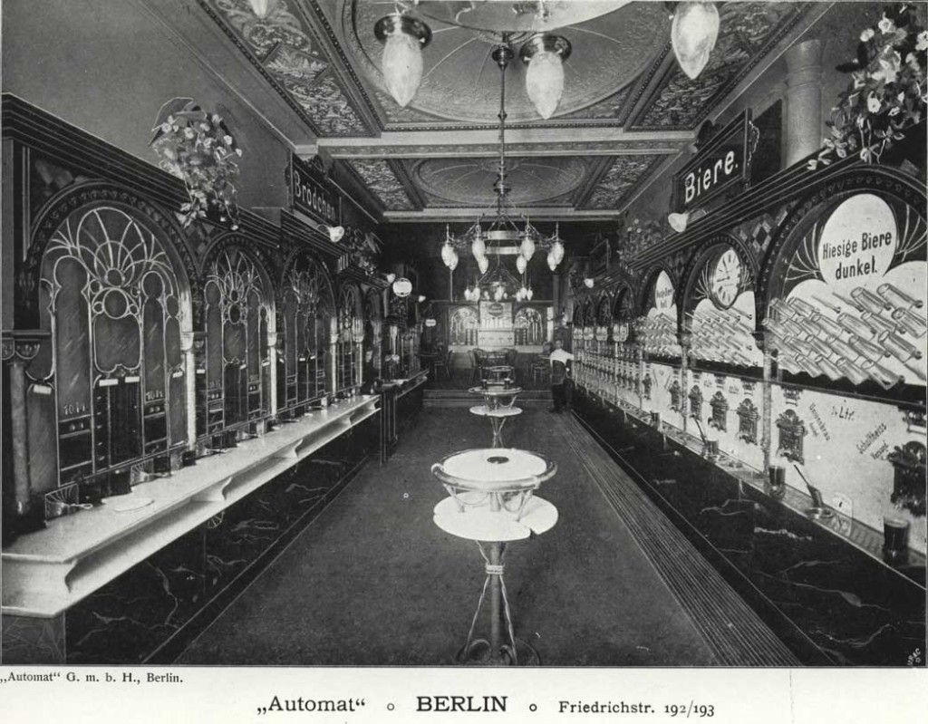 This image from an 1896 Sielaff catalog shows the opulent interior of one of their Berlin automats. Courtesy Hagley Museum and Library.