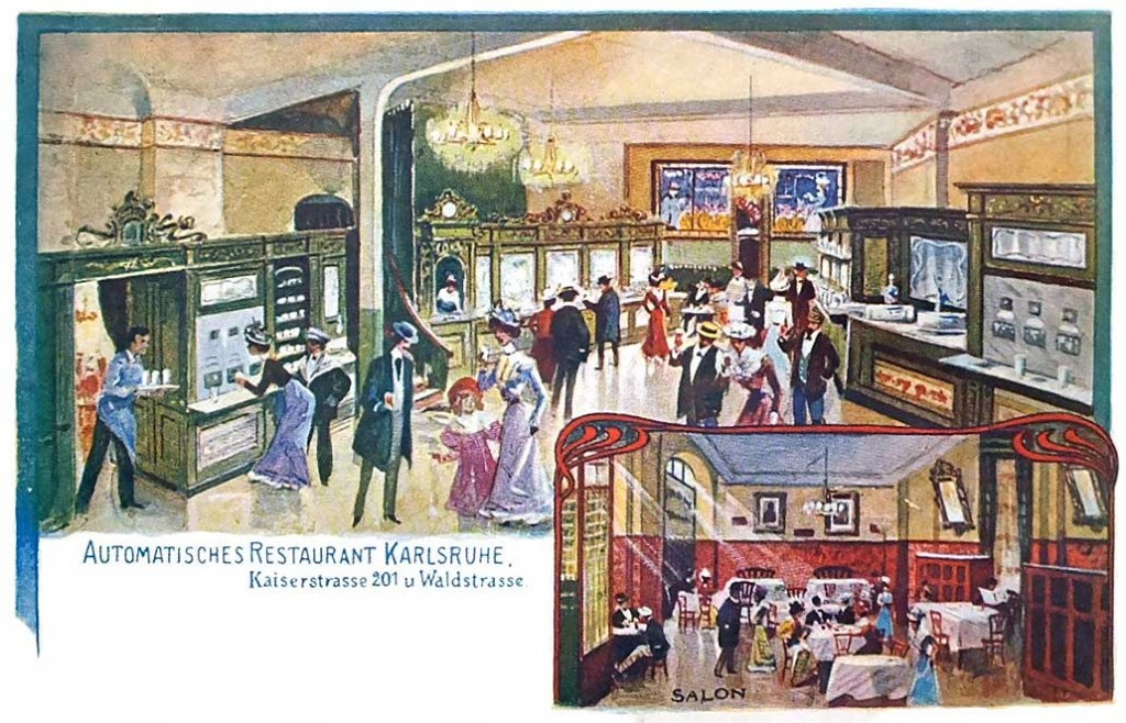 """A 1903 postcard depicting an """"automatic restaurant"""" in Karlsruhe, Germany. Image courtesy Restaurant-ing Through History."""