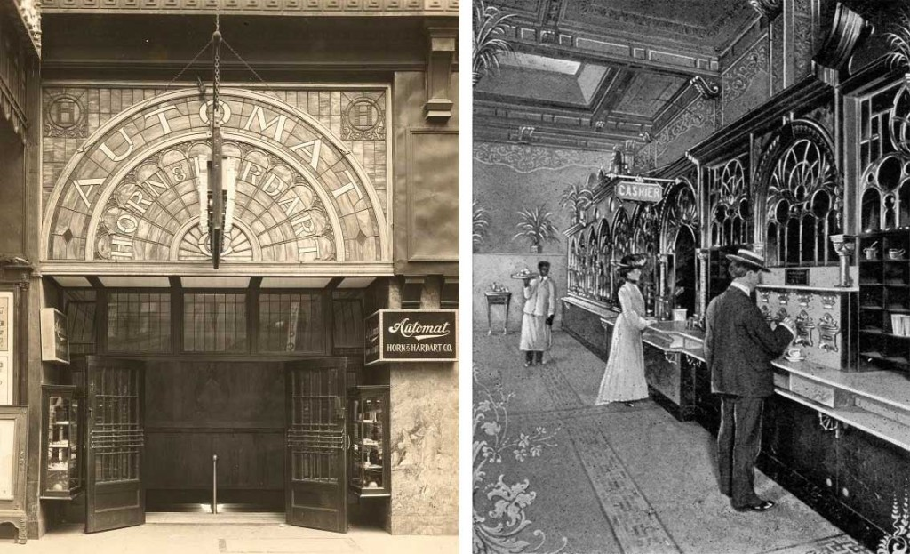 Left: Luxurious details in brass, marble, wood, and stained glass were common at the early Horn & Hardart automats. Right: An interior view of a Philadelphia Horn & Hardart cafeteria featuring Sielaff automats, circa 1904.