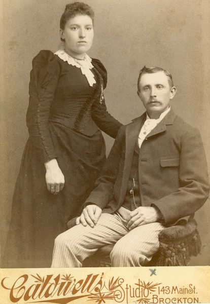 Another late-19th-century cabinet card from the Chrismans' collection features an unsmiling couple. It was taken at Caldwell's Studio in Brockton, Massachusetts. (From ThisVictorianLife.com)
