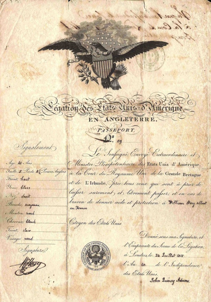 The oldest travel document in Kaplan's collection is this American certificate issued in 1815.