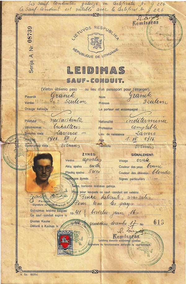"""In 1940, Jewish refugee Szulem Granek was issued this Lithuanian <a href=""""http://www.collectorsweekly.com/stories/170950"""">travel document</a>, which he used to travel to British Palestine."""