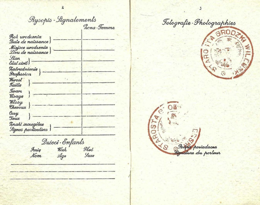 """The inside of Kaplan's <a href=""""http://ourpassports.com/forged-passport-for-escape/"""">forged Polish passport</a> was already marked with official stamps, waiting for an escapee to add their details and photograph. (Click to enlarge)"""
