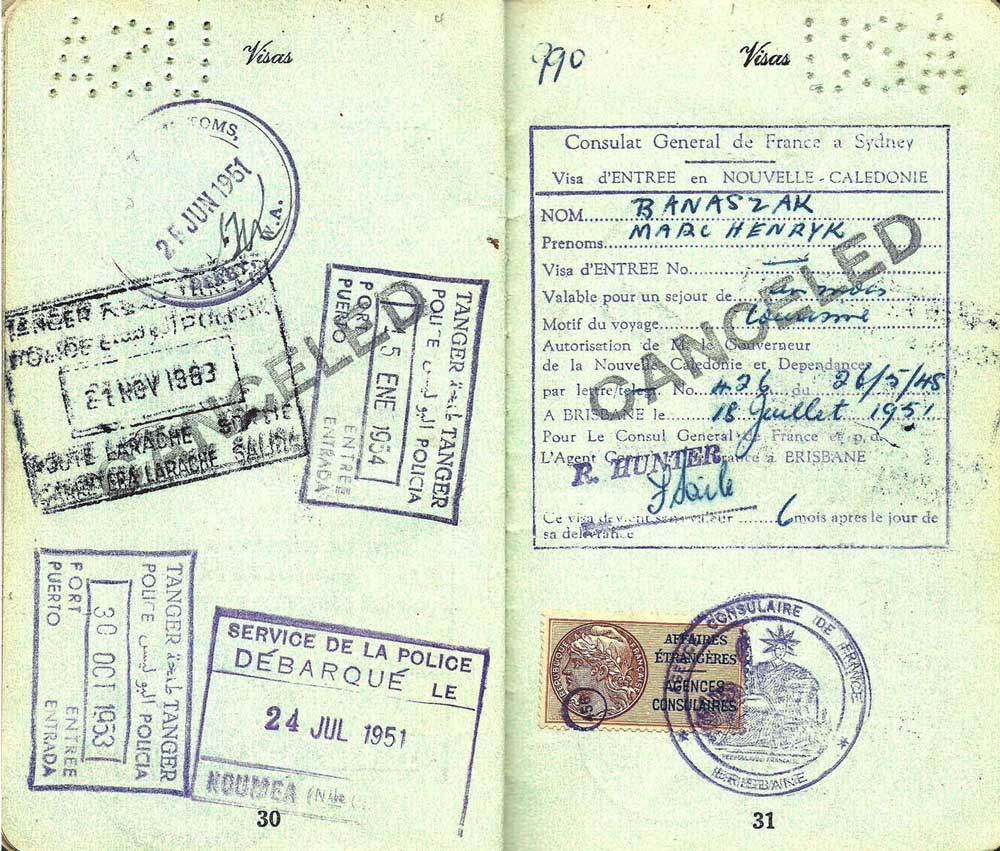 In the early 1950s, this passport for an alleged cosmetician from Los Angeles, California, took him all over the world to places like New Zealand, Burma, Algiers, the Cook Islands, Singapore, and Allied-occupied Germany. (Click to enlarge)
