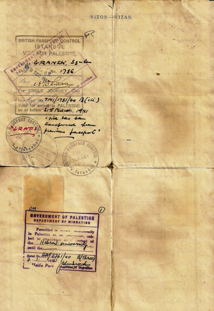 """<a href=""""http://www.collectorsweekly.com/stories/170950"""">Life-saving visas</a> issued by Arthur Whitall to a Jewish refugee, Szulem Granek, allowing him to leave Turkey for British Palestine in 1940. (Click to enlarge)"""