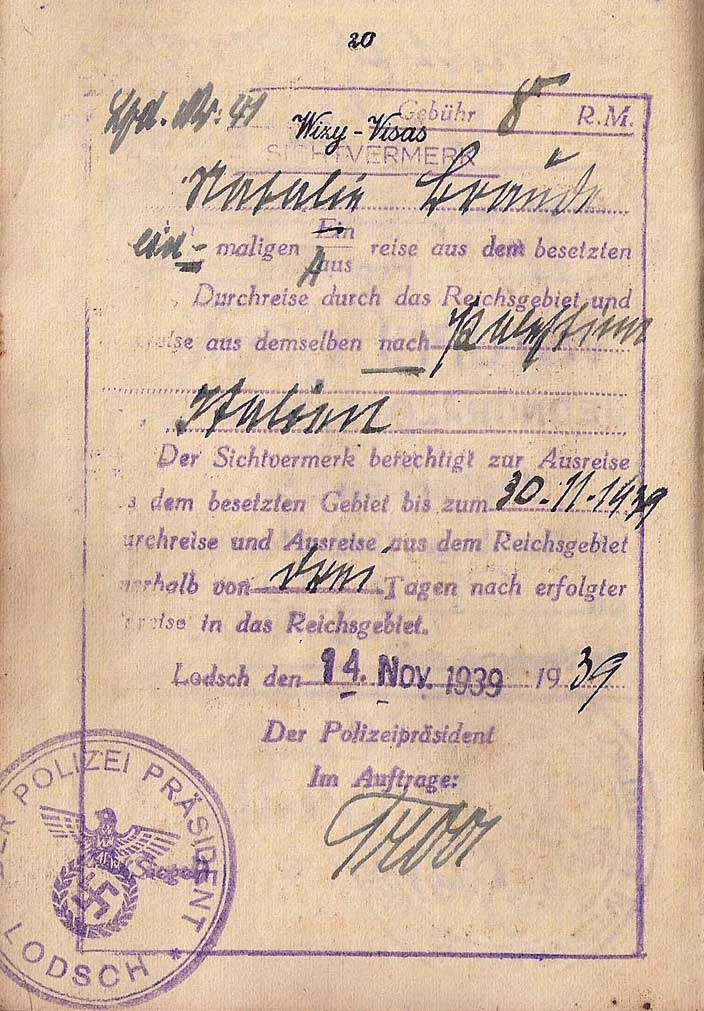 """A rare exit visa from Łódź, Poland (or Lodsch in German), in a Jewish woman's <a href=""""http://ourpassports.com/1940-life-saving-italian-visa/"""">passport</a> that was extended by the German occupying forces even as Jews were being forced into the city's famous ghetto. (Click to enlarge)"""