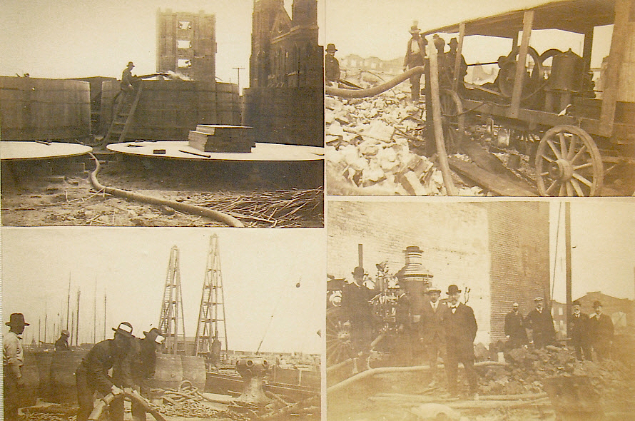 Photos taken by Percy Morgan showing how wine was pumped through fire hoses from C.W.A. headquarters and Third and Bryant Streets to tanks on an awaiting barge. (Courtesy Gail Unzelman)
