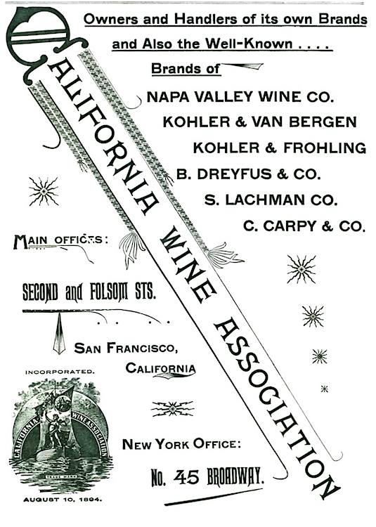 "A C.W.A. ad published in ""Pacific Wine and Spirit Review,"" late 1890s. (Courtesy Gail Unzelman)"