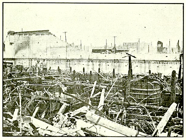 "Photo from the July 31, 1906 issue of the ""Pacific Wine & Spirit Review,"" showing the damage to the C.W.A.'s Fourth Street cellars. (Via archive.org)"