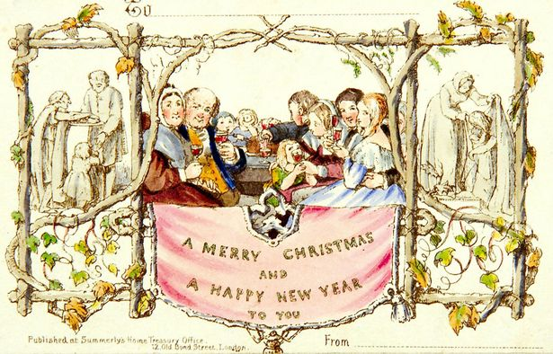 Top: A silly Victorian Christmas card, circa 1880s. Above: Henry Cole's design for the first-known holiday card from 1843.