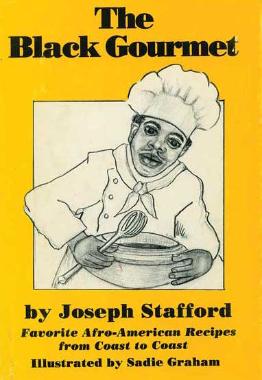"Top: Detail from ""Aunt Jemima's Temptilatin' Recipes,"" an 18-page promotional recipe booklet made by Quaker Oats in 1949. Above: Joseph Stafford honors the black cooks who came before him in 1984's ""The Black Gourmet."" (From ""The Jemima Code"")"
