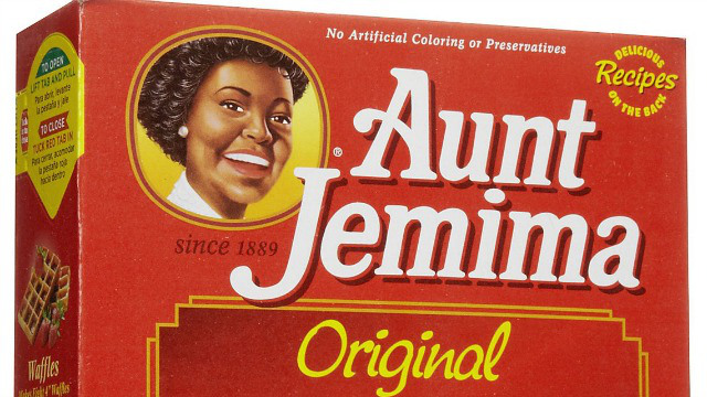 Aunt Jemima in 2016 has the pearl earrings and relaxed curls of a 1950s housewife.