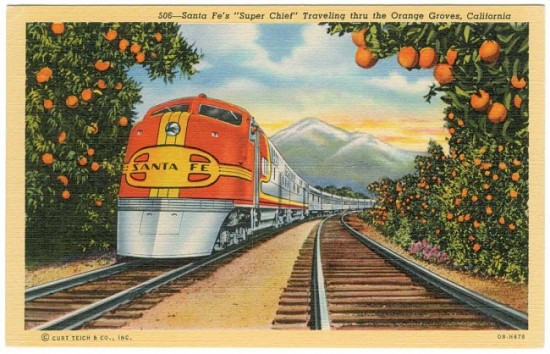 Santa-Fe's-'Super-Chief'-Traveling-thru-the-Orange-Groves,-California