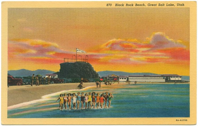 This Teich postcard of Black Rock Beach on the Great Salt Lake used two sources photos, one of the Utah destination itself and another of a row of bathing beauties taken at Miami Beach. Such collages were not uncommon at Teich. Courtesy University of Texas Press.