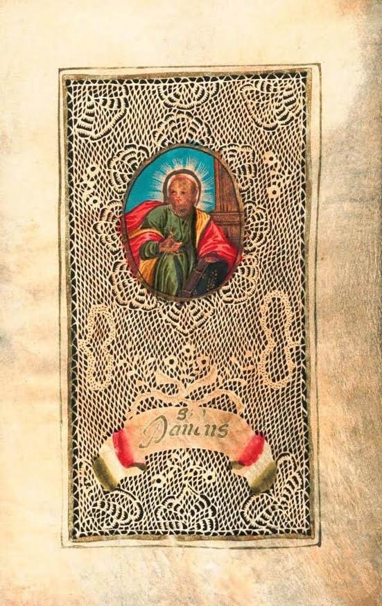 A hand-cut paper Devotional parchment with a gouache image of Saint Paul, circa 1700. (Courtesy of Nancy Rosin)