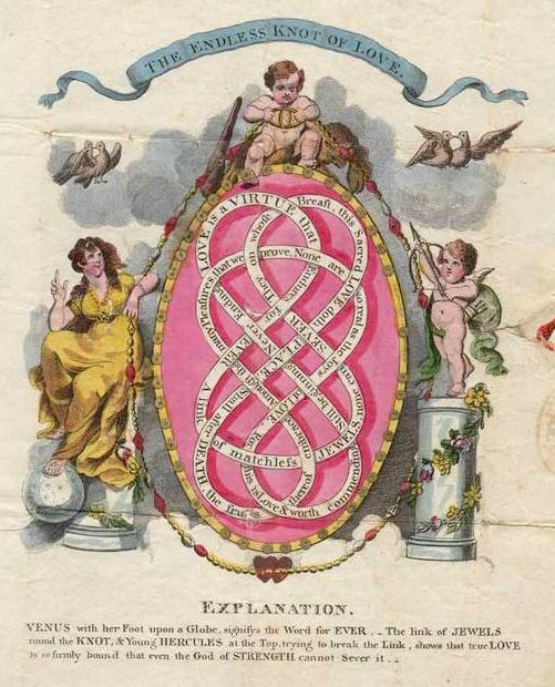 "This hand-colored lithographed Valentine is adorned with sequins and features the ""endless knot of love."" Postmarked February 14, 1814, it's a form of mail known as a ""stampless cover,"" meaning the note was folded and sealed with wax and it would have been hand-carried or delivered by horse courier to a woman named Susan in Cambridge, England. (Courtesy of Nancy Rosin)"