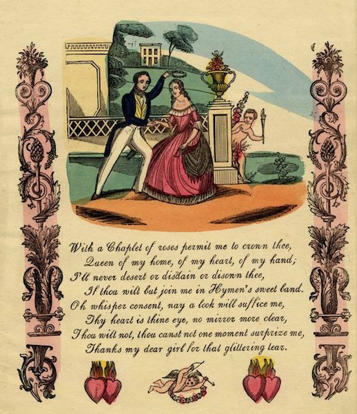 """This Valentine,  a hand-colored wood engraving,  features a romantic poem and symbols of love, including the """"Sacred Hearts."""" (From the John Johnson Collection at the Bodleian Library, University of Oxford)"""