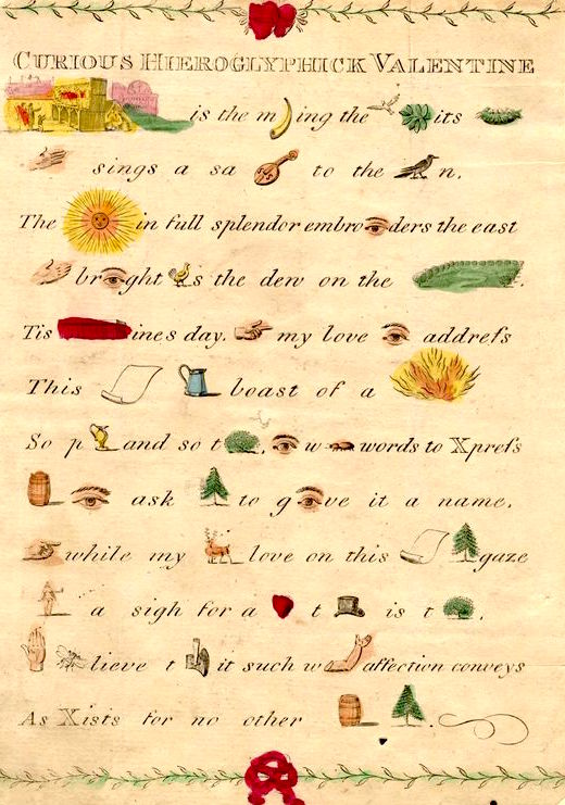 This engraved Valentine rebus puzzle was hand-colored. (From the John Johnson Collection at the Bodleian Library, University of Oxford)