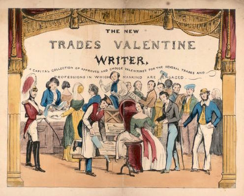 "The frontispiece of ""The New Trades Valentine Writer,"" circa 1845. (From the John Johnson Collection at the Bodleian Library, University of Oxford)"