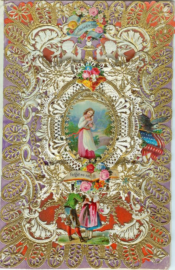 "Esther Howland popularized Valentine's Day in the United States selling layered confections of lace paper, scrap images, and Dresden ornaments, starting in the late 1840s. This early example is marked ""H-100,"" meaning it sold for $1. (Courtesy of Nancy Rosin)"