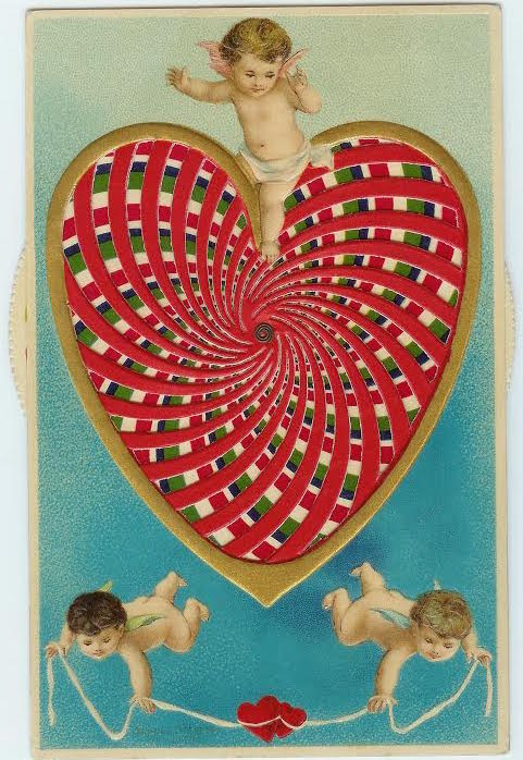 "This ""moveable"" postcard from 1911 has a heart with a kaleidoscope effect. Illustrated by Ellen Clapsaddle, it was published in Germany and postmarked in Philadelphia. (Courtesy of Nancy Rosin)"