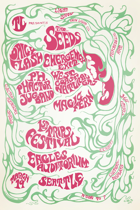 Moehring's poster for Seattle's first Trips Festival in 1967 featured a layer of florescent ink that glowed under a blacklight.