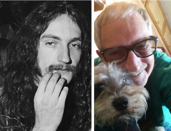 Top: One of John Moehring's most illegibly psychedelic posters was created in 1968 for a show by the Strawberry Alarm Clock. Above: Moehring in the late 1960s and more recently with his dog, Ronnie.