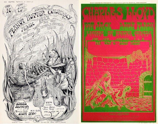Stylistically, Moehring's art could range from Arthur Rackham influenced drawings (above, left) to Victor Moscoso-esque posters (above right).