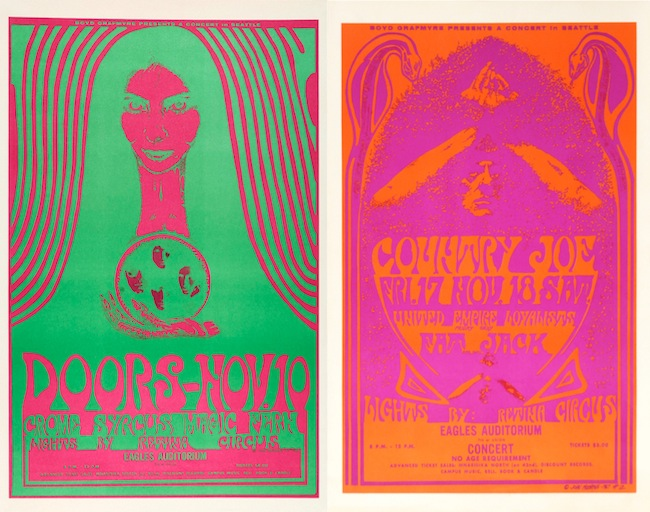 Posters such as these from late 1967 were produced by inking both the positive and negative printing plates, thus covering 100 percent for the sheet of paper with rich color.