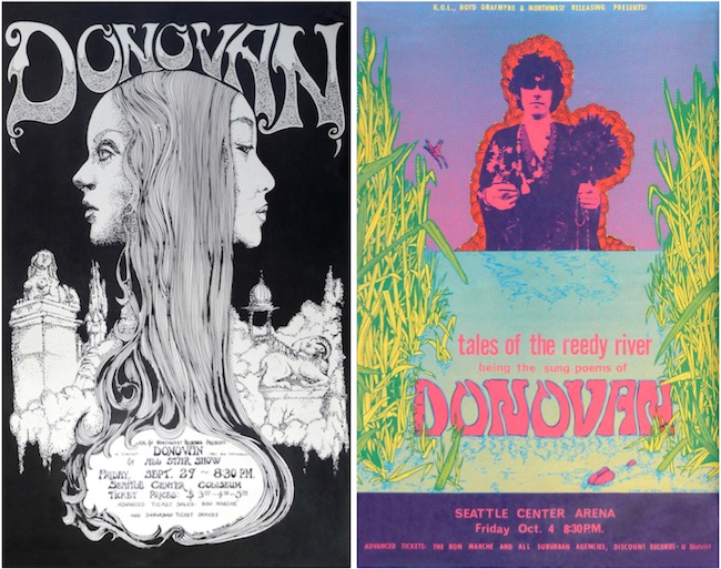 Moehring designed several posters for Donovan concerts—the second one prompted the English musician to call Moehring back into his dressing room so her could thank him personally for his work.