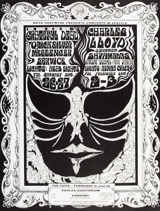 In response to a request from Grafmyre to try and make his Eagles posters more legible, Moehring created this design for two weekends worth of shows in 1968.