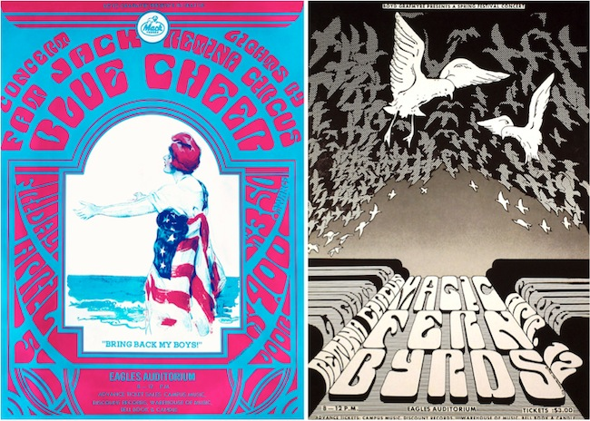 Two more examples of concert posters from Moehring's anti-war period in the spring of 1968.