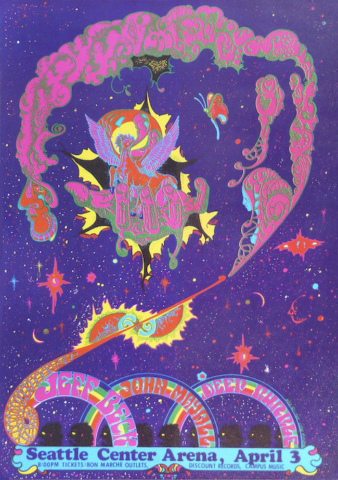 Moehring used a lot of purple in his late-1960s rock posters, but this one advertising a show in April of 1969 headlines by Jeff Beck seems—in retrospect, anyway—an homage to the band at the bottom of the bill.