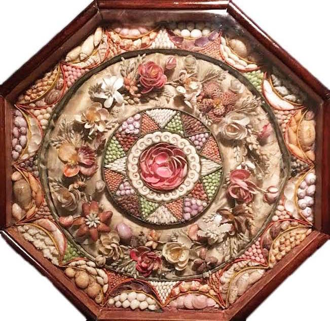 Octagonal boxed seashell mosaics were made by women in Barbados and sold to British sailors as Valentines for their sweethearts in the 1800s. This example is particularly rare because it's so large (15 inches wide) and the central circle of shell flowers is a removable wreath that a bride could wear on her wedding day. (Courtesy of Nancy Rosin)