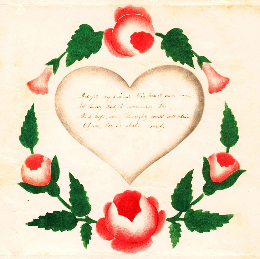 A detail of an American Valentine from 1825, which was stencil-painted with a rose wreath symbolizing endless love. This craft, known as theorem painting, was taught to women and girls in schools in the early 19th century. (Courtesy of Nancy Rosin)