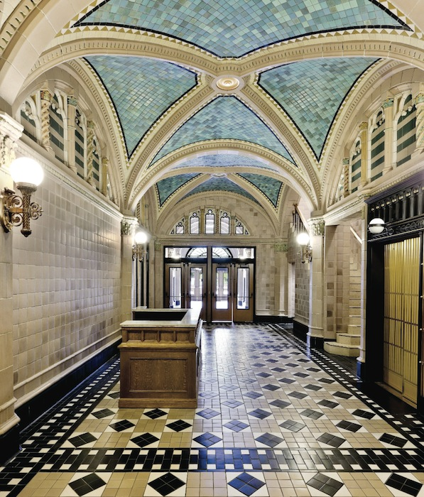 All this Rookwood tile, installed in the lobby of the Monroe Building in Chicago, had been hidden by sheetrock walls and a drop ceiling, until it was recently restored. Rookwood glaze chemist Jim Robinson and a colleague named John Williams created new tiles for the restoration, matching not just colors but their variations.