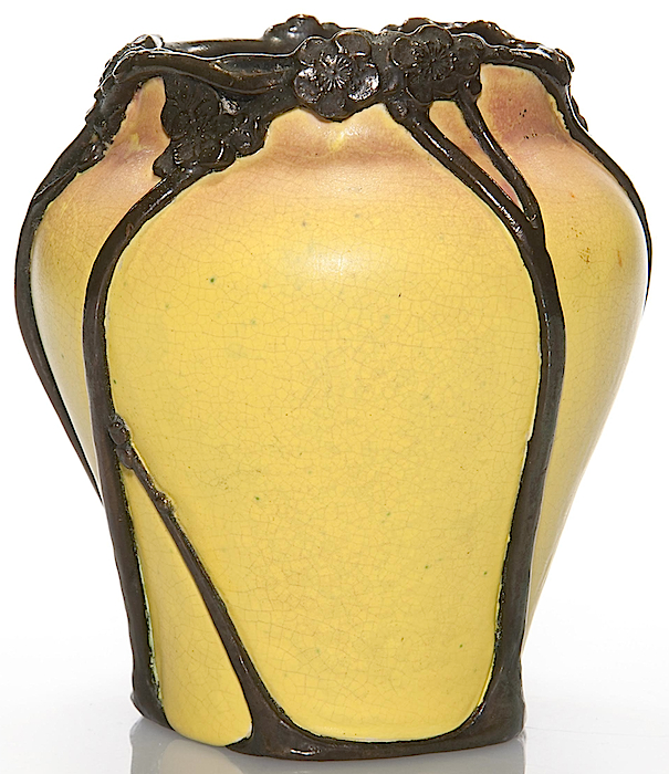 This rare Rookwood vase by Kataro Shirayamadani from 1901 features electroplated copper on the flowers and stems. (Via Mark Mussio, Humler & Nolan)