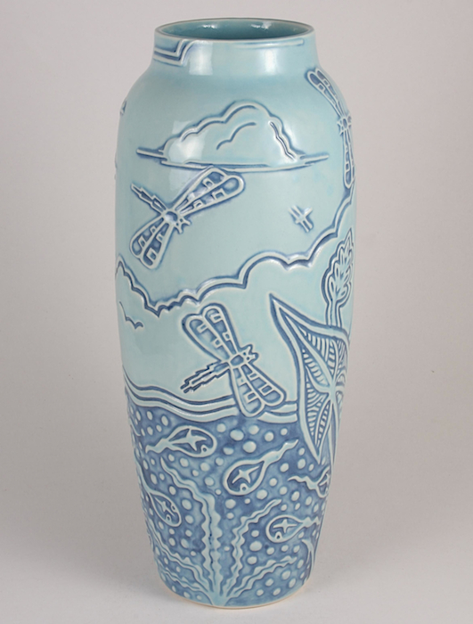 "Current Rookwood designer Dan Dutton's ""Tadpole & Dragonfly"" vase is based on a shape from 1900, mold number 907B."