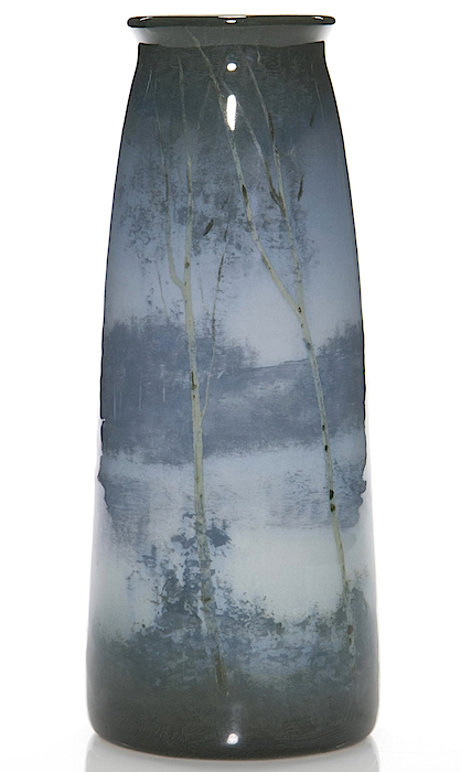The 1909 Rookwood vase by Kataro Shirayamadani is almost 9 inches tall, and features a scene of birch trees in the moonlight. (Via Mark Mussio, Humler & Nolan)