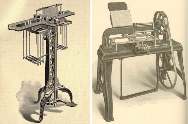 Both the Hall Braille-writer and the Kleidograph were followed by similar machines designed to not only compose documents in their tactile languages, but to produce copper printing plates so that those documents could be reproduced. At left is the Hall Stereowriter.